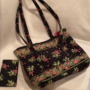 Vera Bradley tote purse with checkbook cover